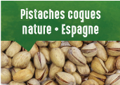 Pistaches nature en coques